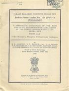 A Systematic Catalogue of the Main Identified Entomological Collection at the Forest Research Institute, Dehra Dun: Parts 22-38 Orders Neuroptera, Mecoptera, Trichoptera and Lepidoptera