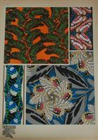 Papillons Portfolio of four colour plates (pochoirs) of decorative butterfly designs.